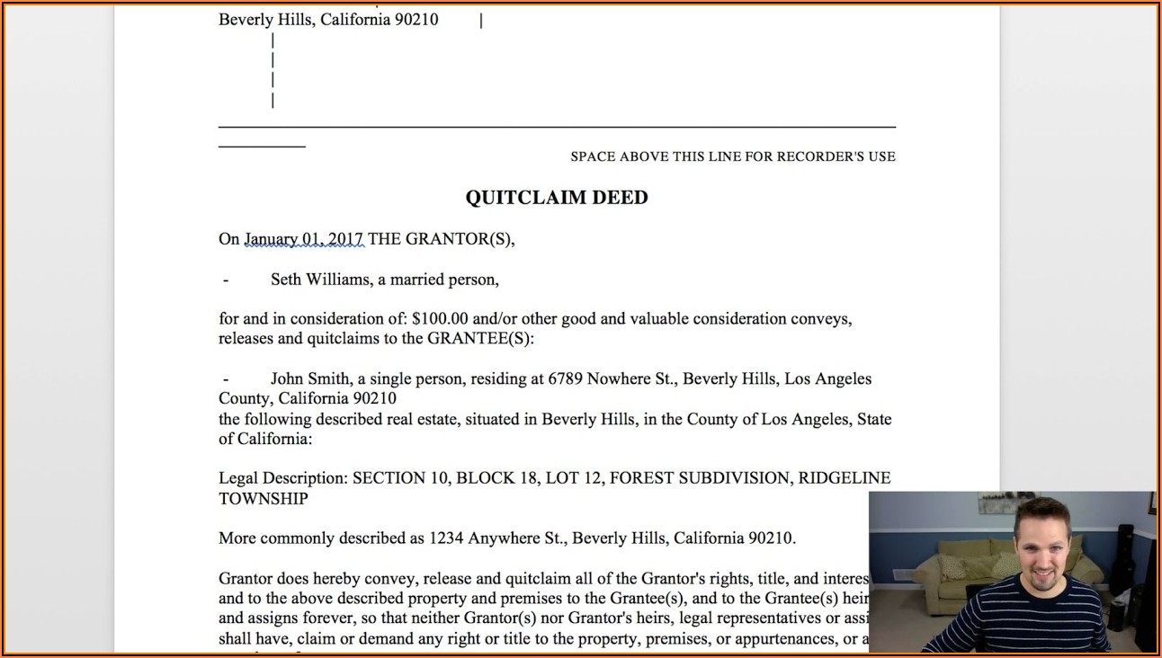 Real Estate Quit Claim Deed Form Washington State
