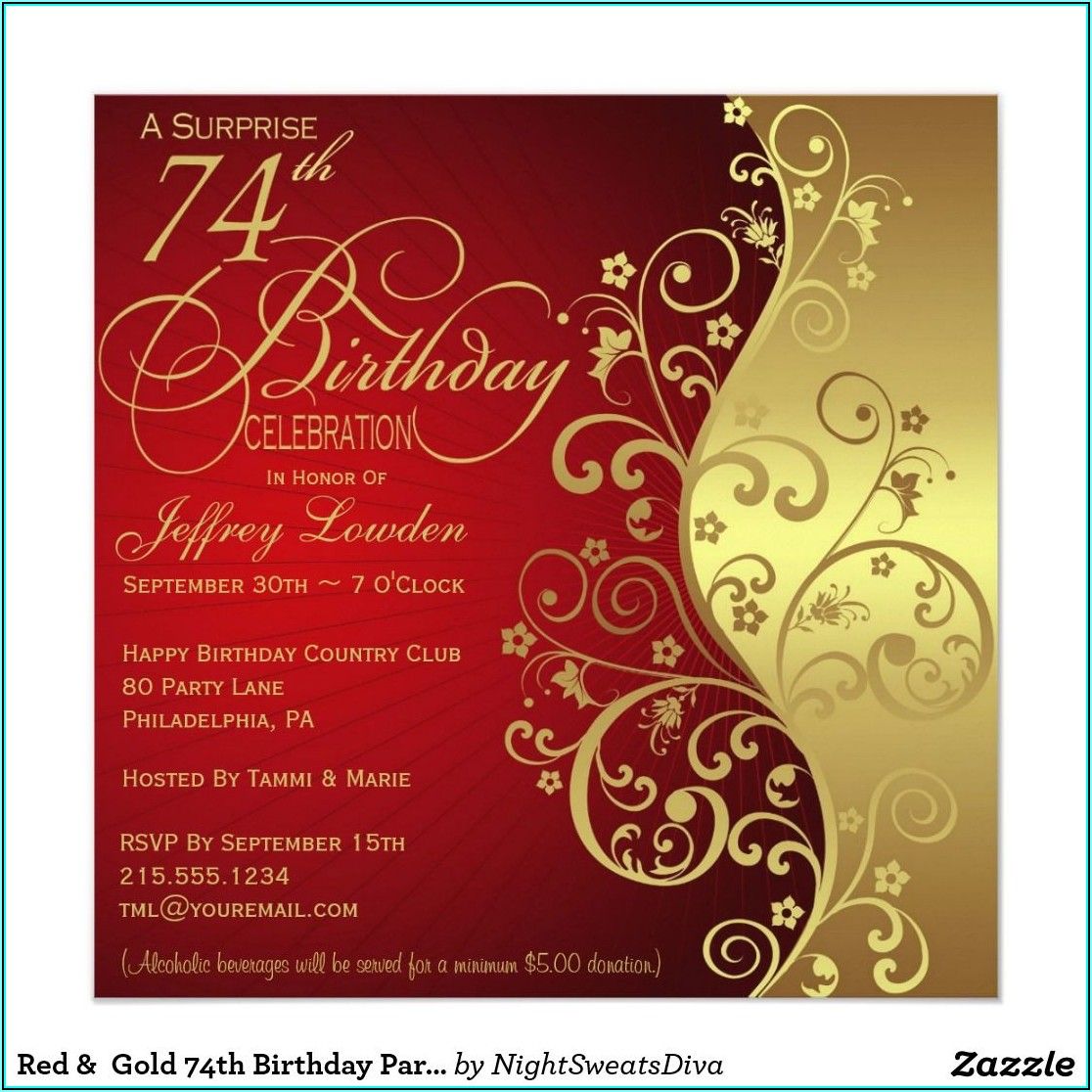 Red And Gold 60th Birthday Invitation Templates