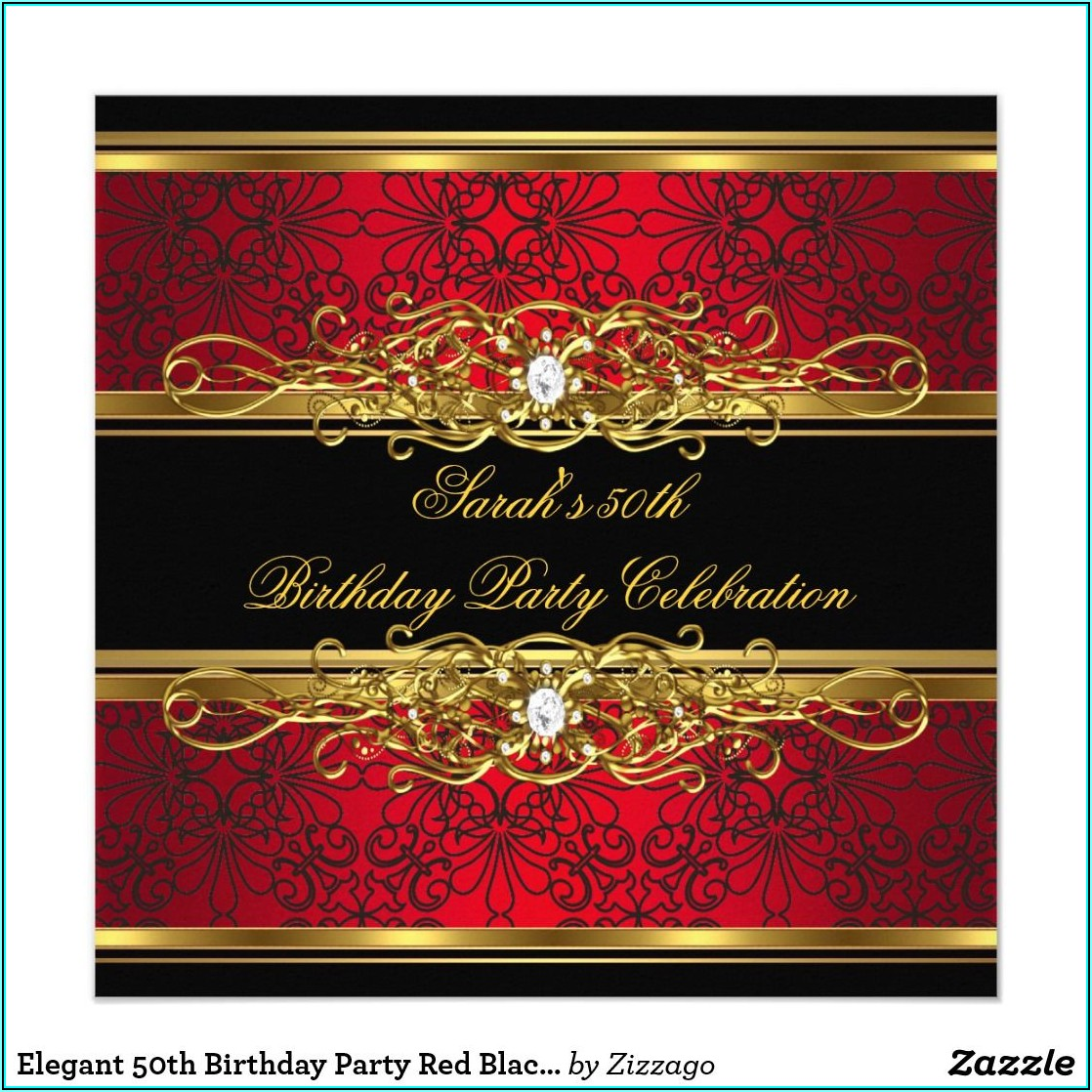 Red And Gold Birthday Invitation Templates