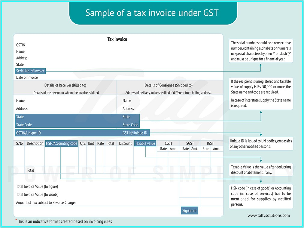 Reimbursement Invoice Format In Gst