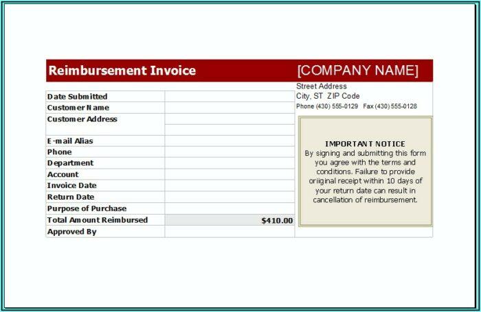 Reimbursement Invoice Format India