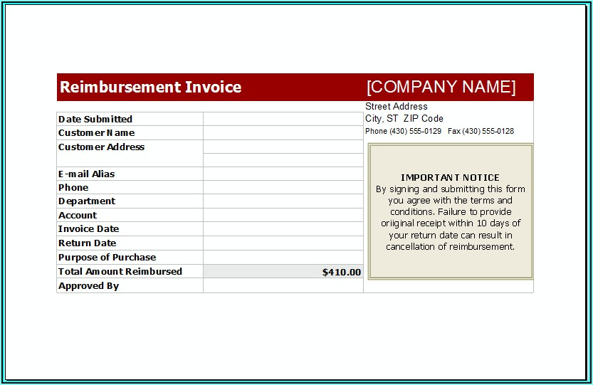 Reimbursement Invoice Format India