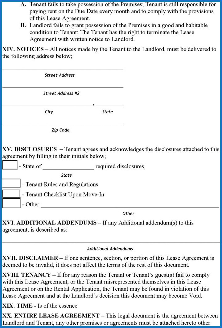 Rent Agreement Form Free Download