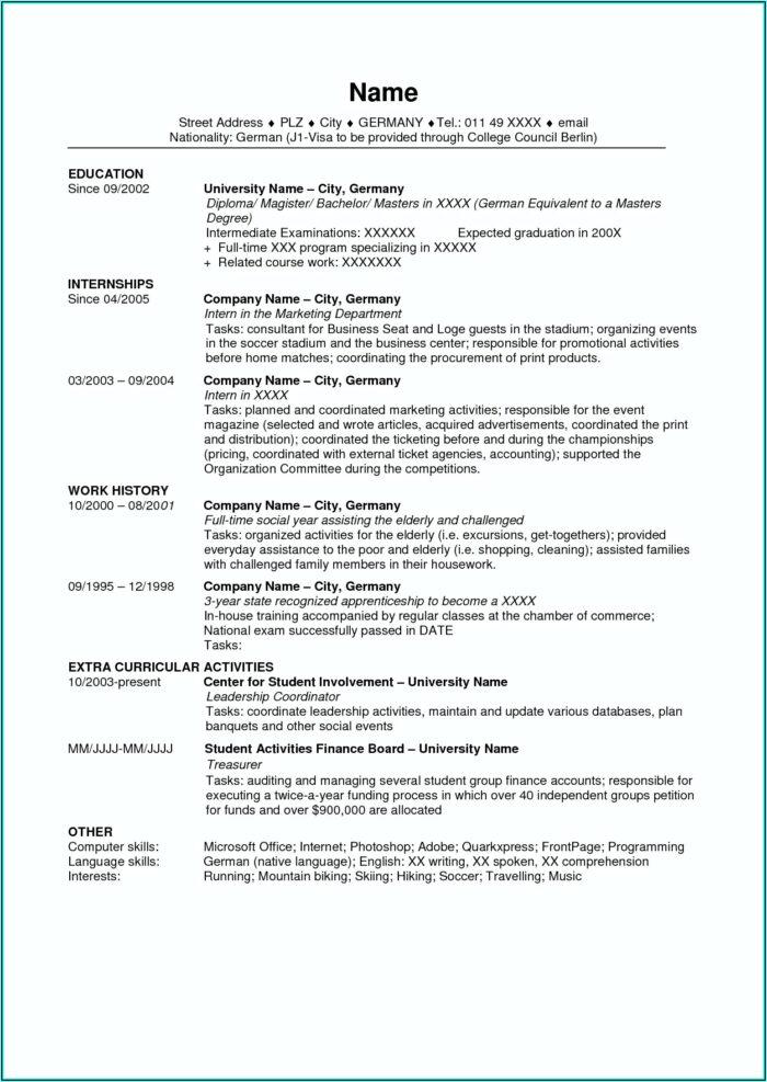 Resume Usa Template