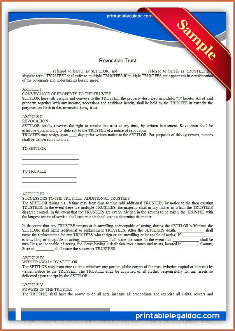 Revocable Trust Forms