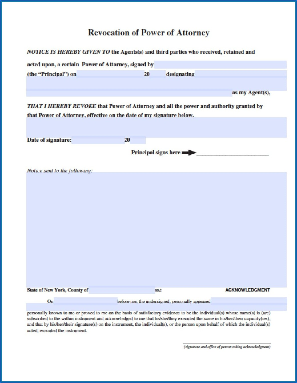 Revocation Of Power Of Attorney Form New York