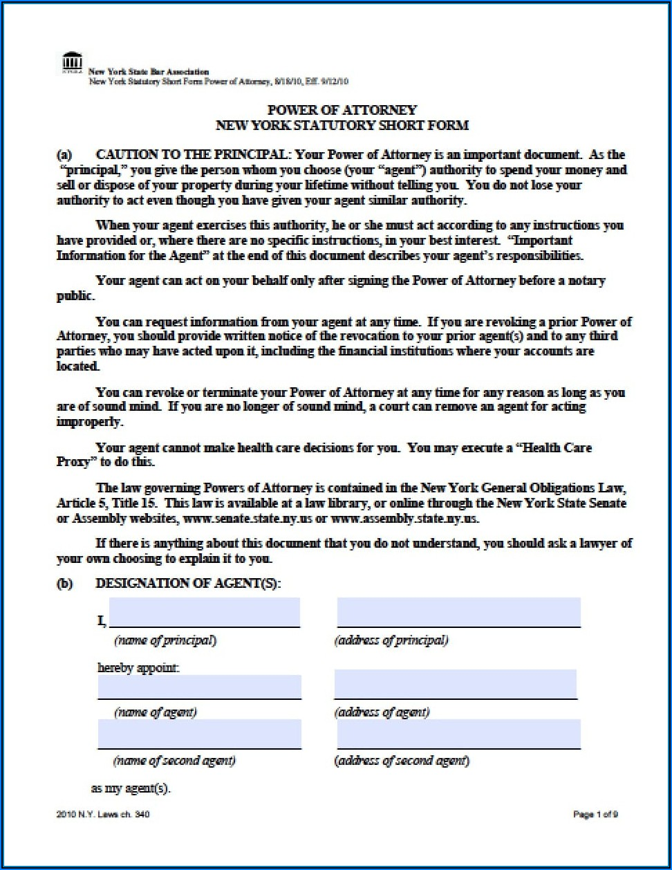 Revocation Of Power Of Attorney Template New York