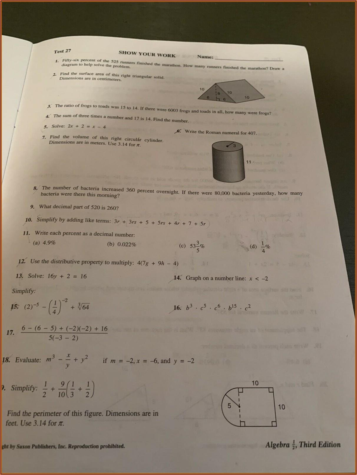 Saxon Math Algebra 12 Test Forms