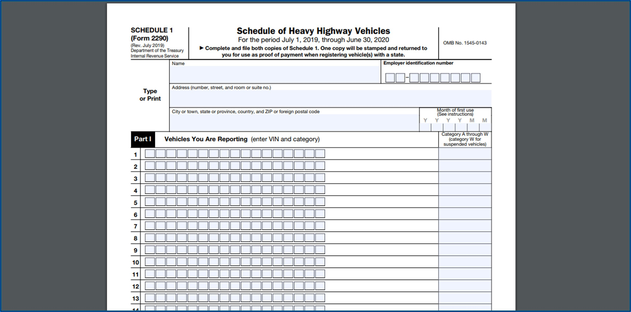 Schedule Heavy Highway Vehicles Form 2290