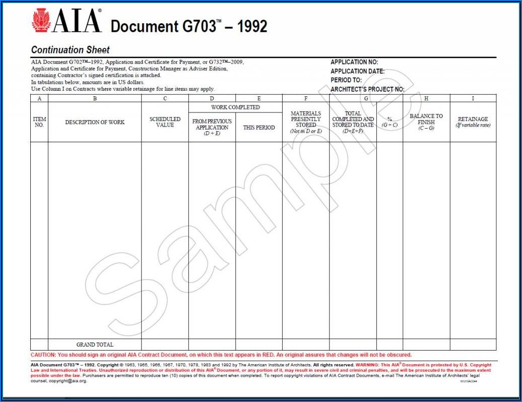 Standard Aia Billing Form