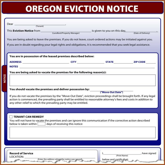 State Of Oregon Eviction Notice Form