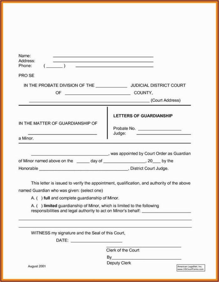 Temporary Guardianship Form