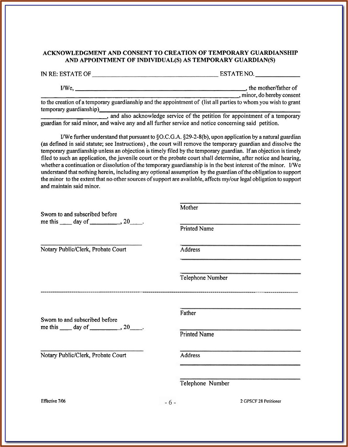 Temporary Guardianship Form Ny