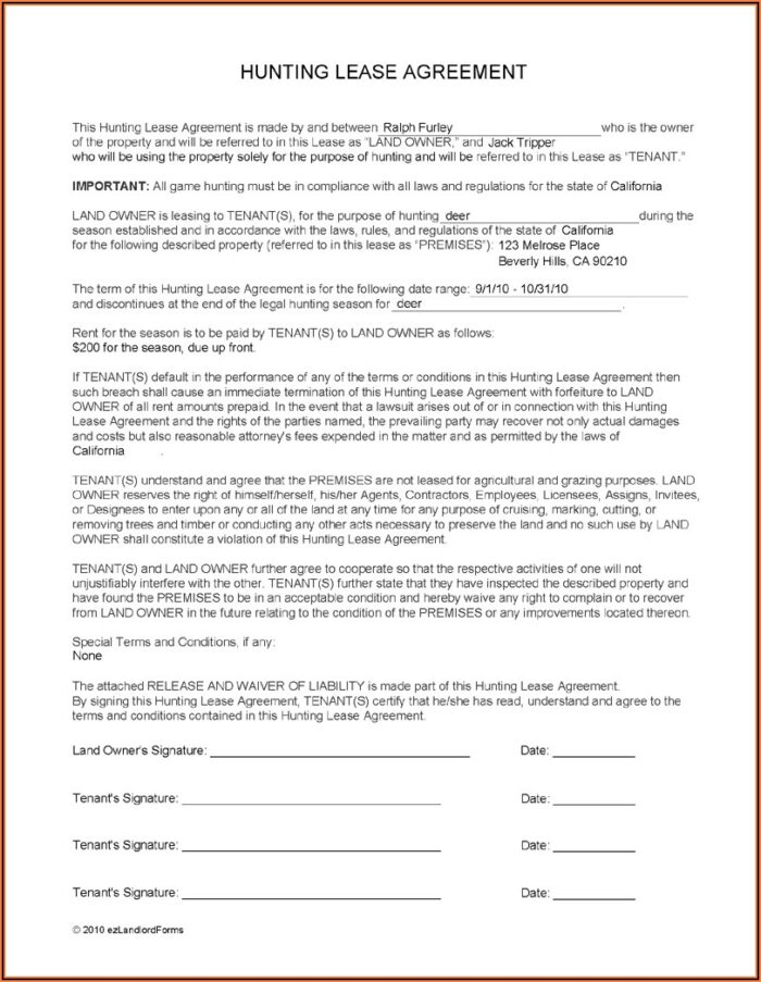Texas Hunting Lease Contract Form