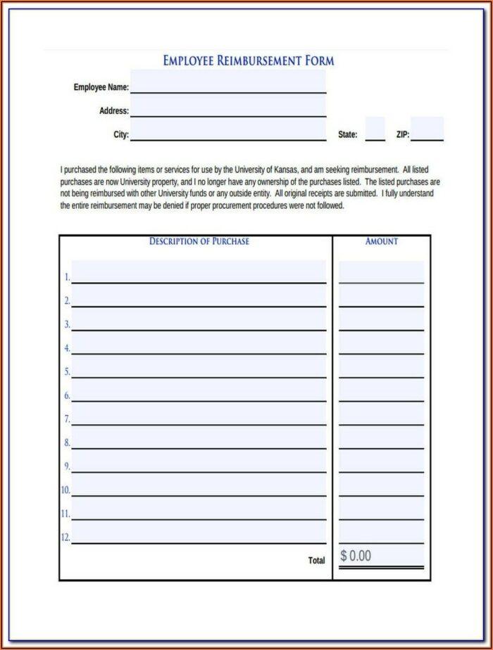 Texas Mileage Reimbursement Form