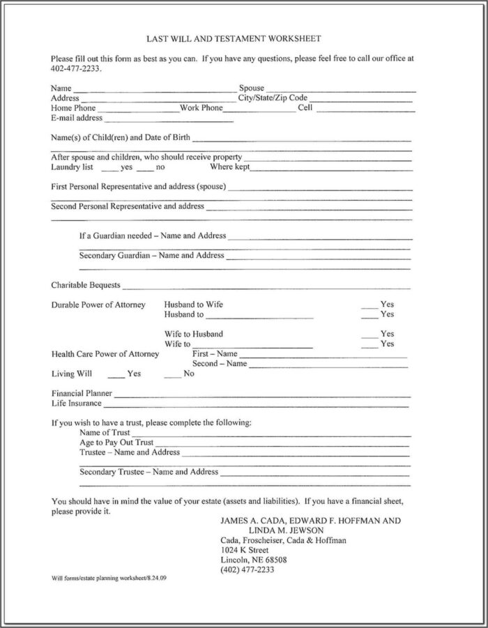Texas Wills Forms