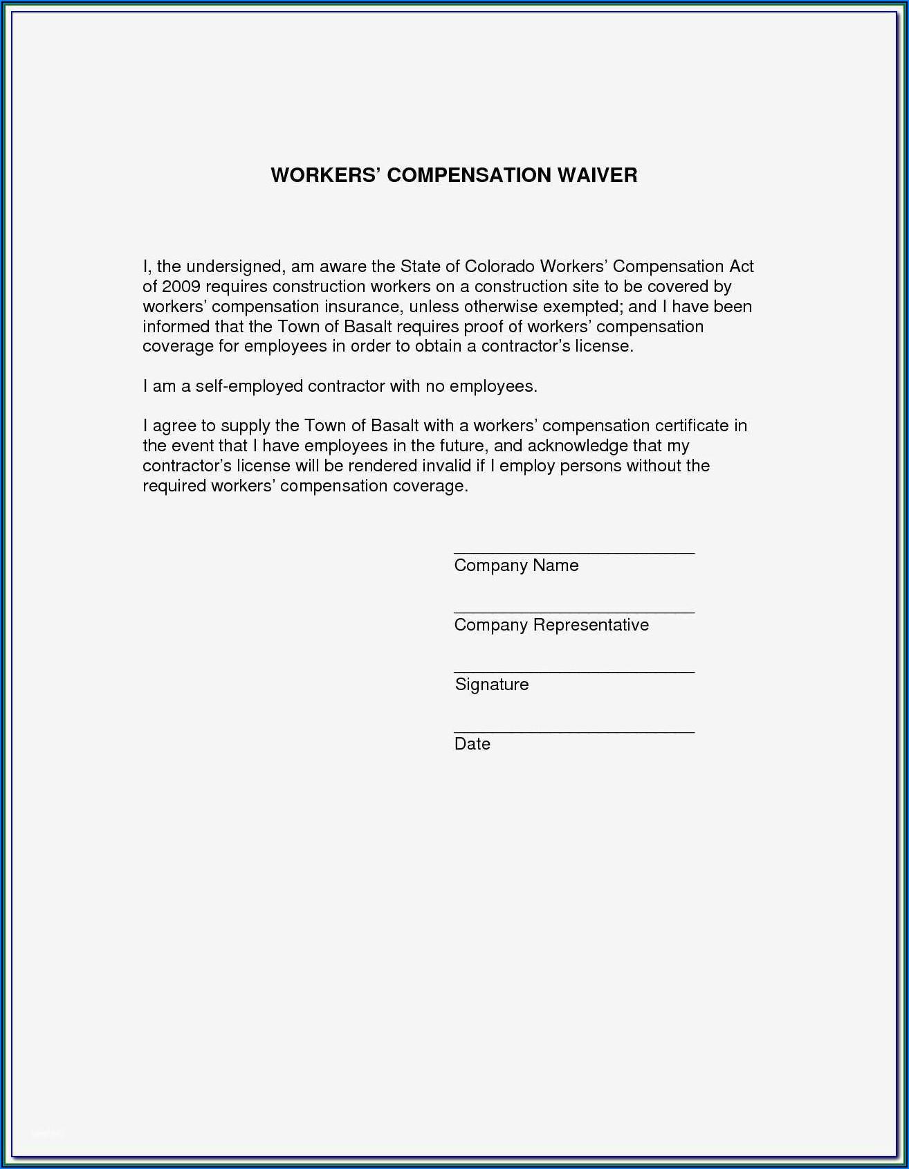 Texas Workmans Comp Waiver Form