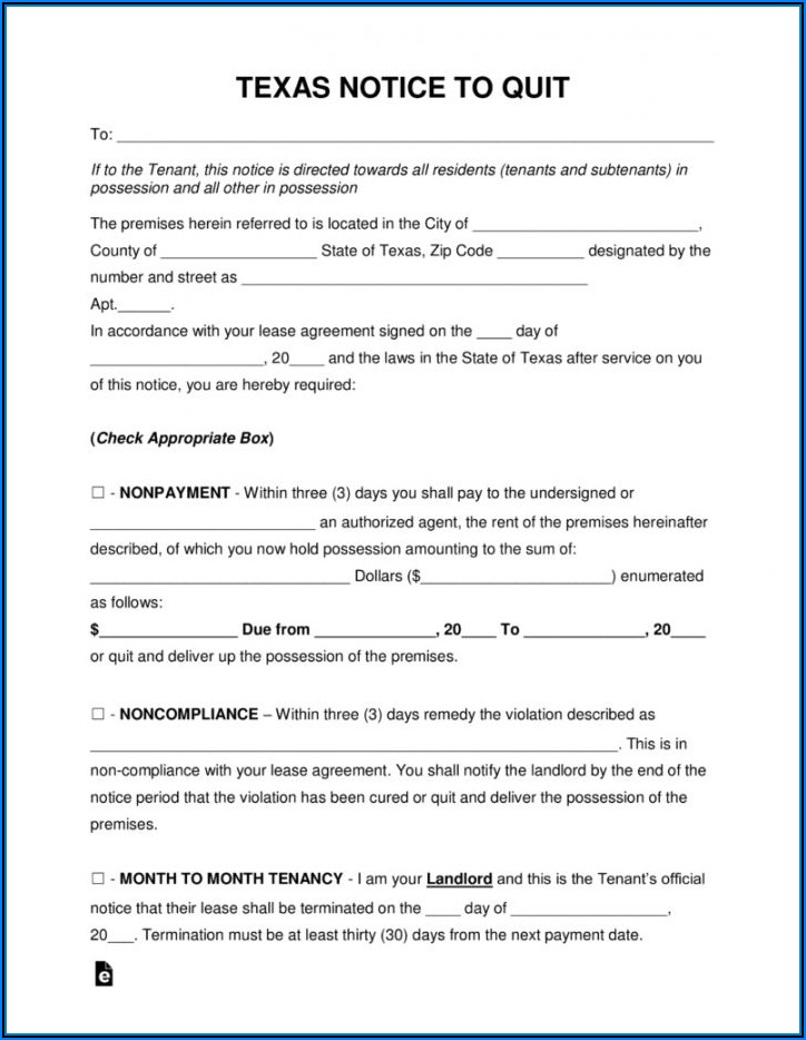 Three Day Notice To Vacate Texas Form