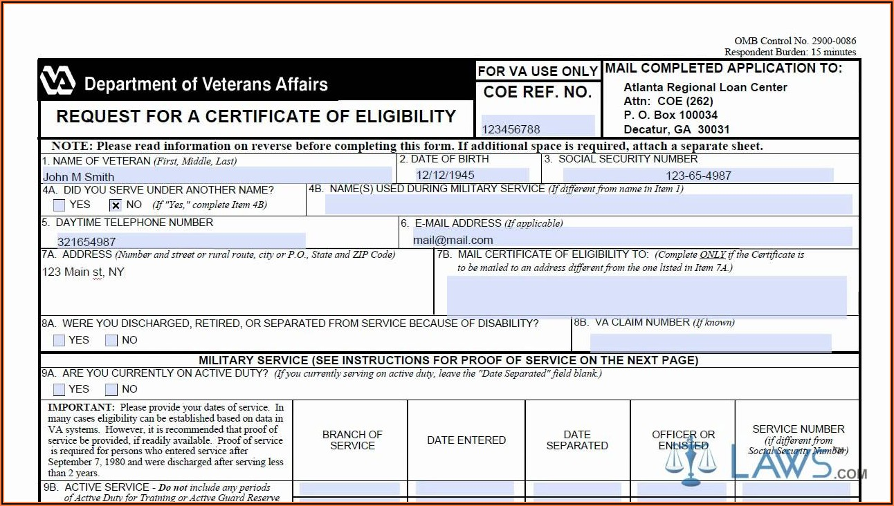 Va Form 26 1880 Request For Certificate Of Eligibility