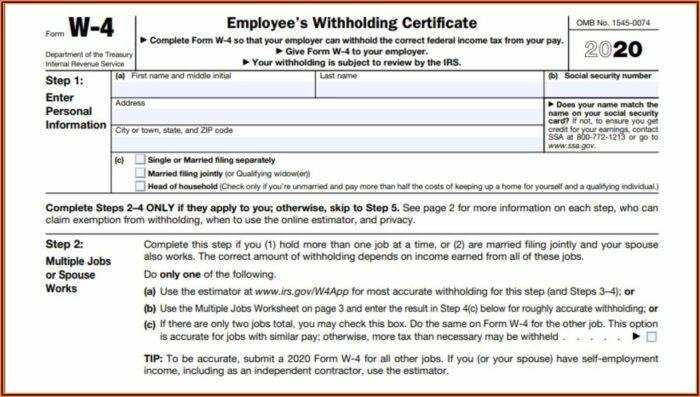 W2 Form For Employees 2020