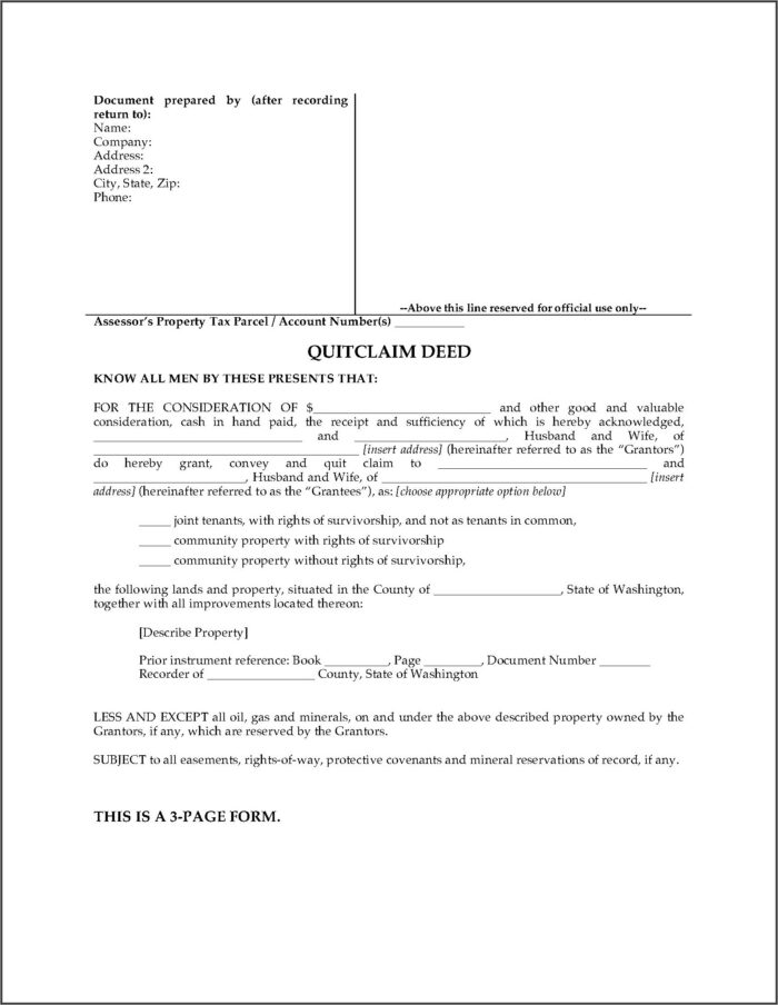 Washington State Legal Forms Quit Claim Deed