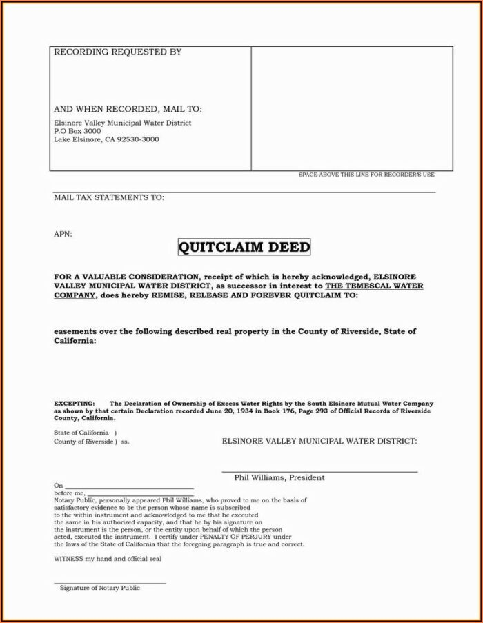 Washington State Quit Claim Deed Form