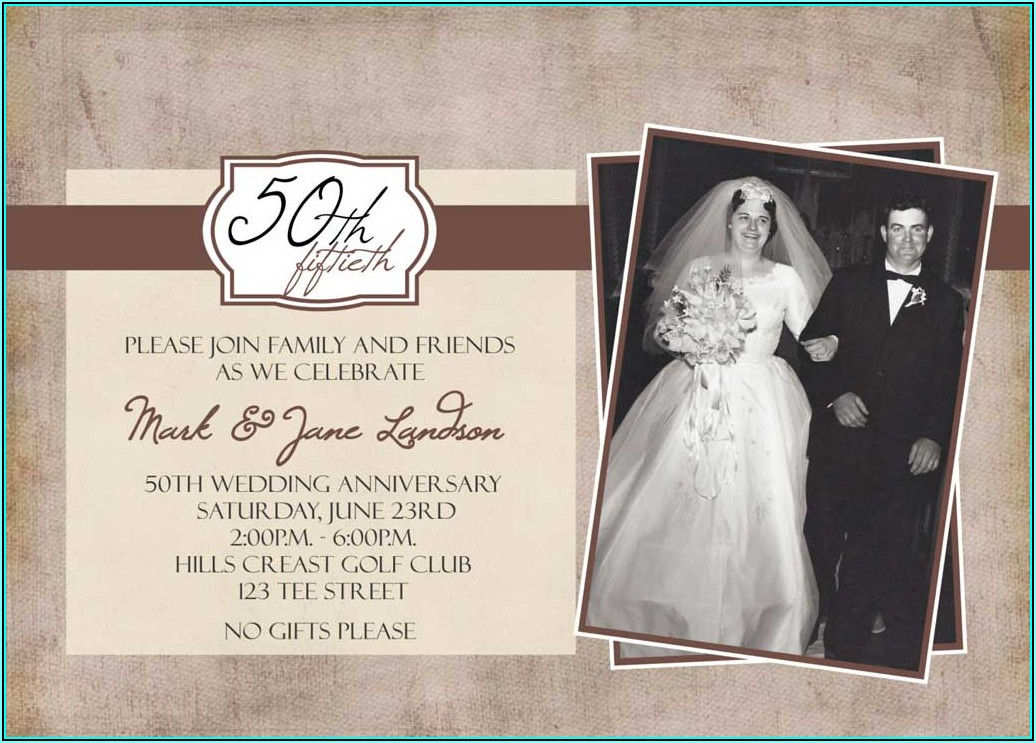 50th Wedding Anniversary Invitation Templates