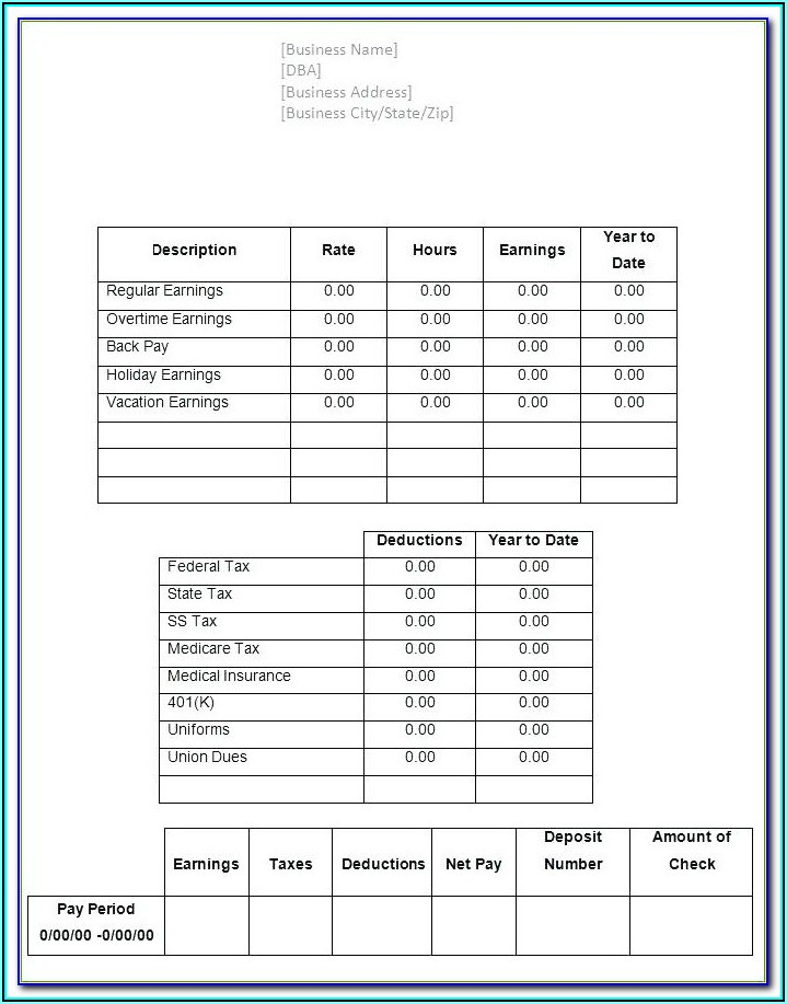 Adp Pay Stub Template Word
