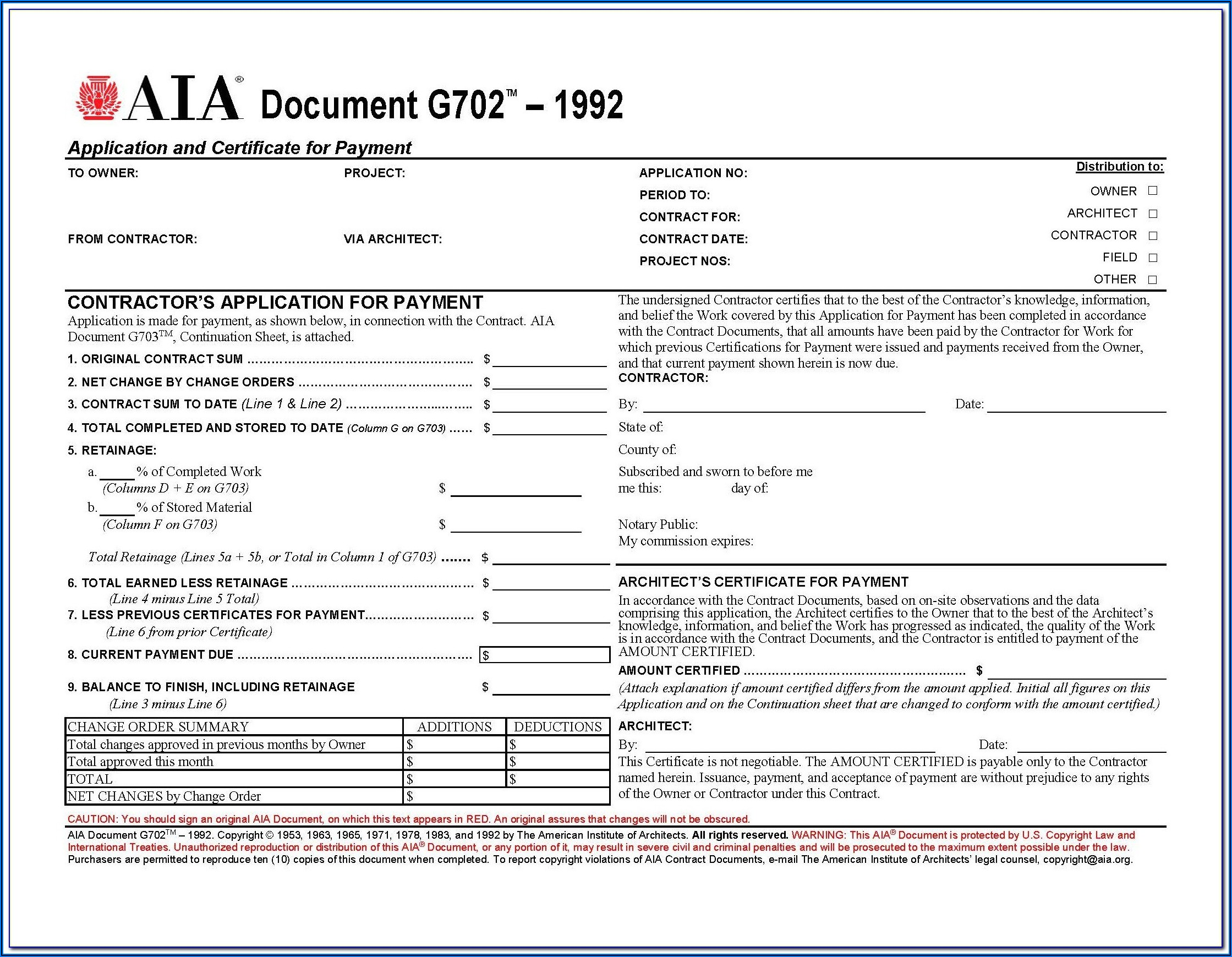 Aia Form 702 And 703