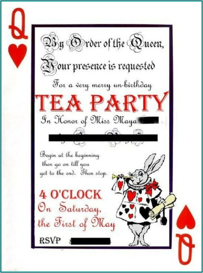 Alice In Wonderland Party Invitations Template Free