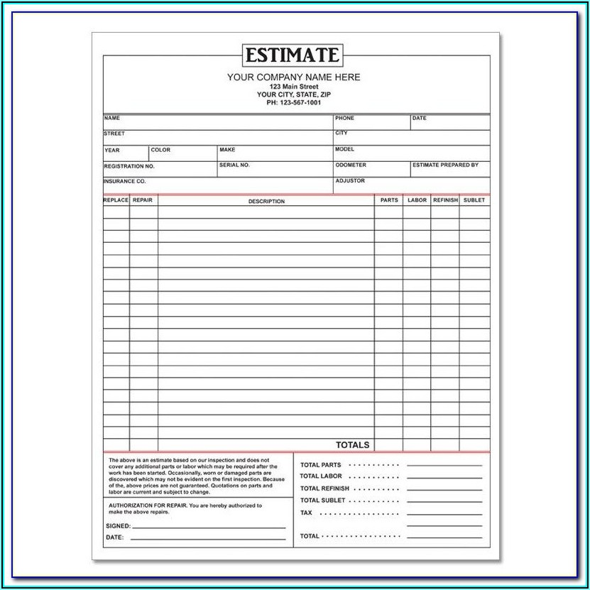 Auto Repair Estimate Template Free Downloads