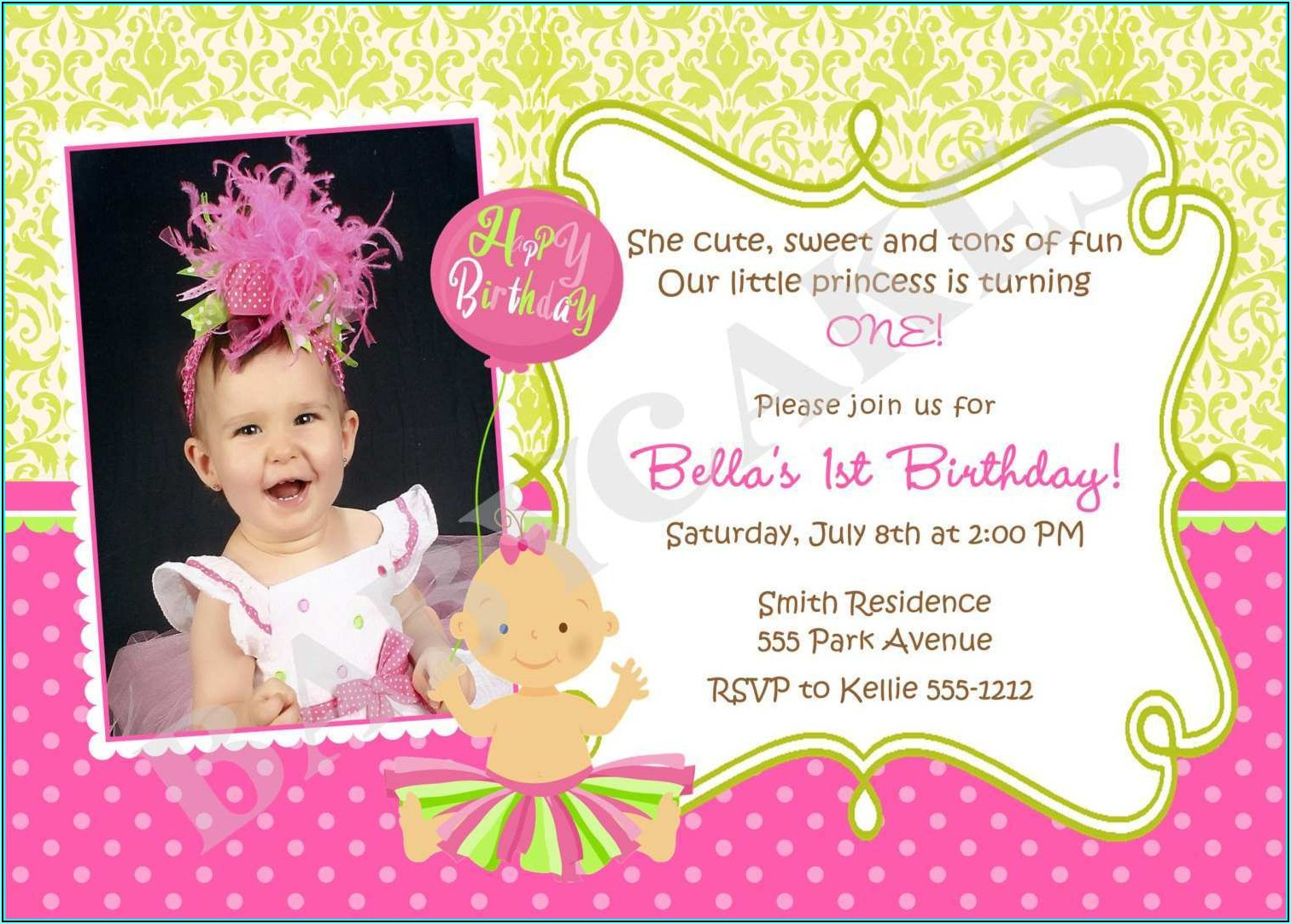 Baby Girl Birthday Invitation Template