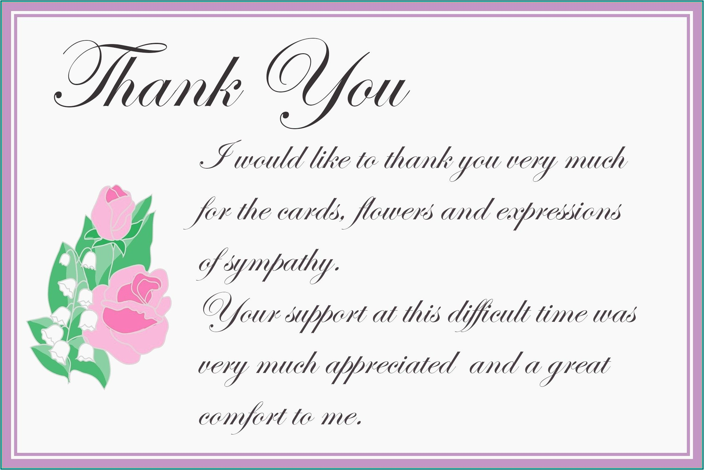 Bereavement Thank You Card Template