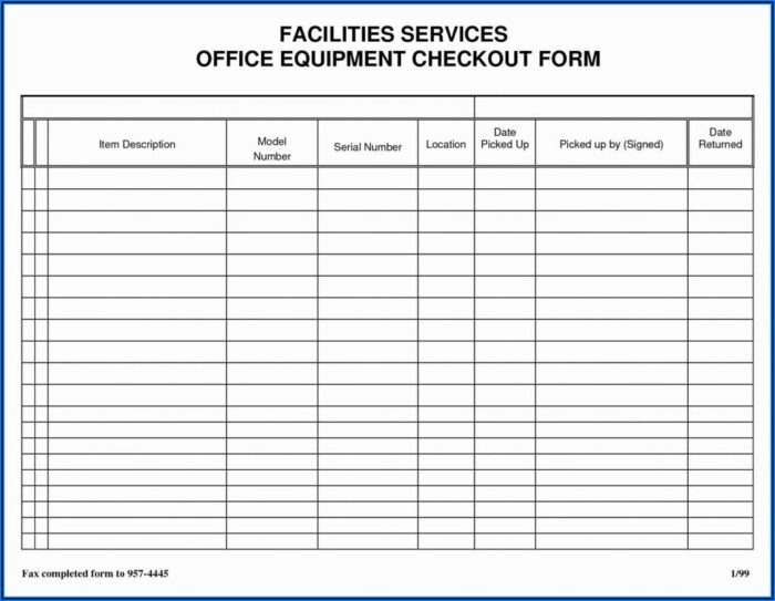 Blank Office Supply Request Form Template