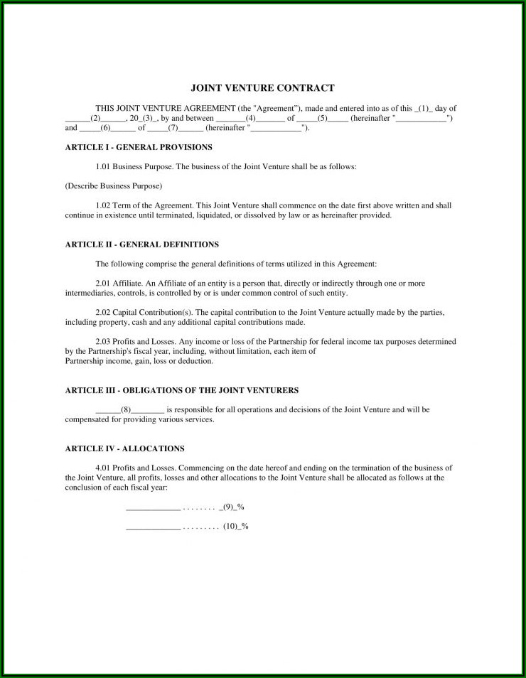 Business Partnership Agreement Contract Template