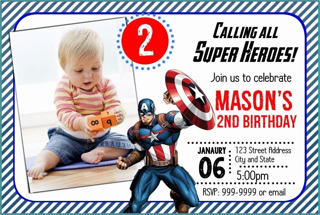Captain America Birthday Invitation Template