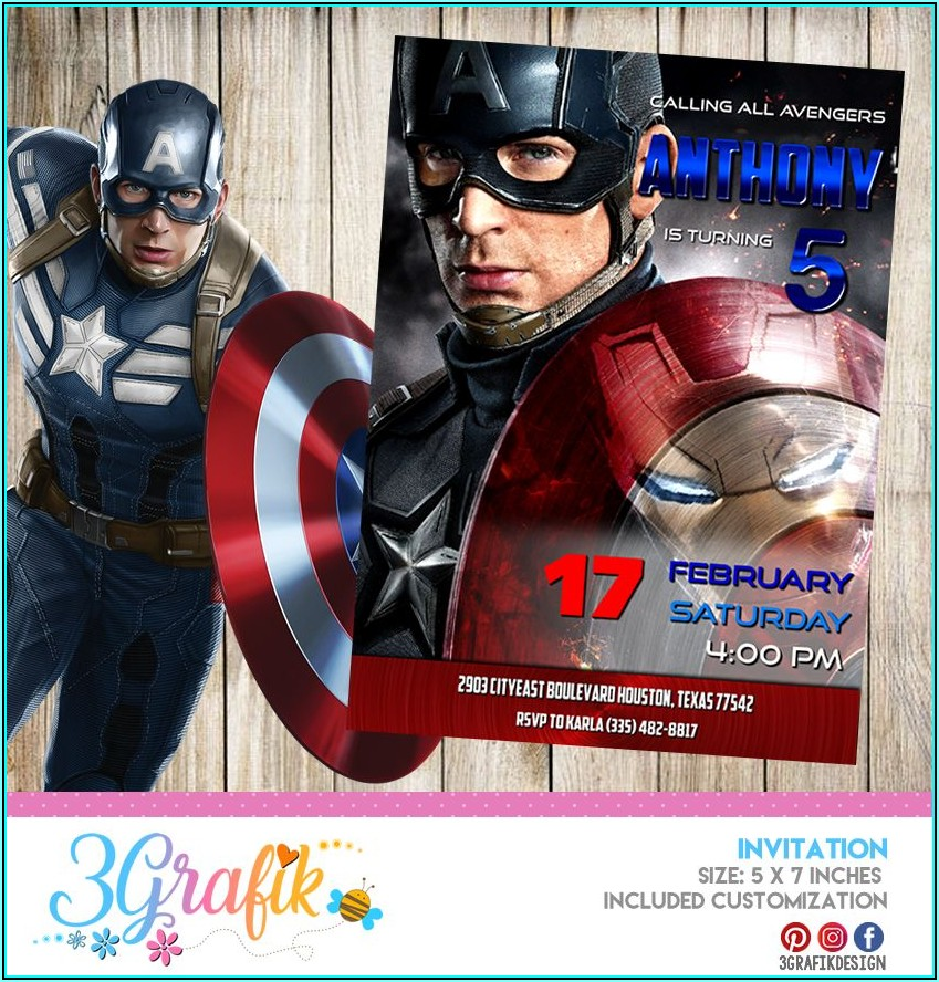 Captain America Party Invitation Template