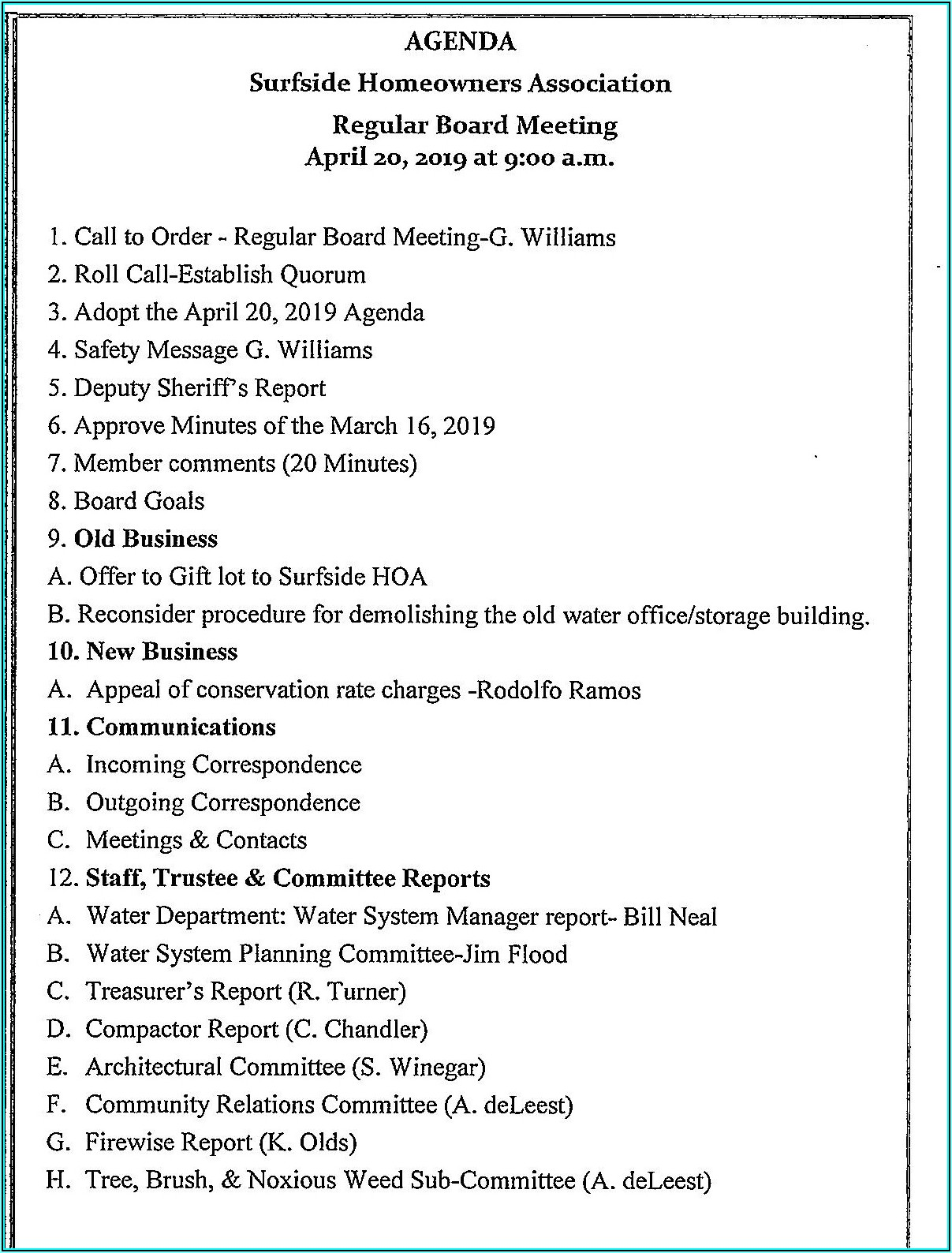 Condo Board Meeting Agenda Template