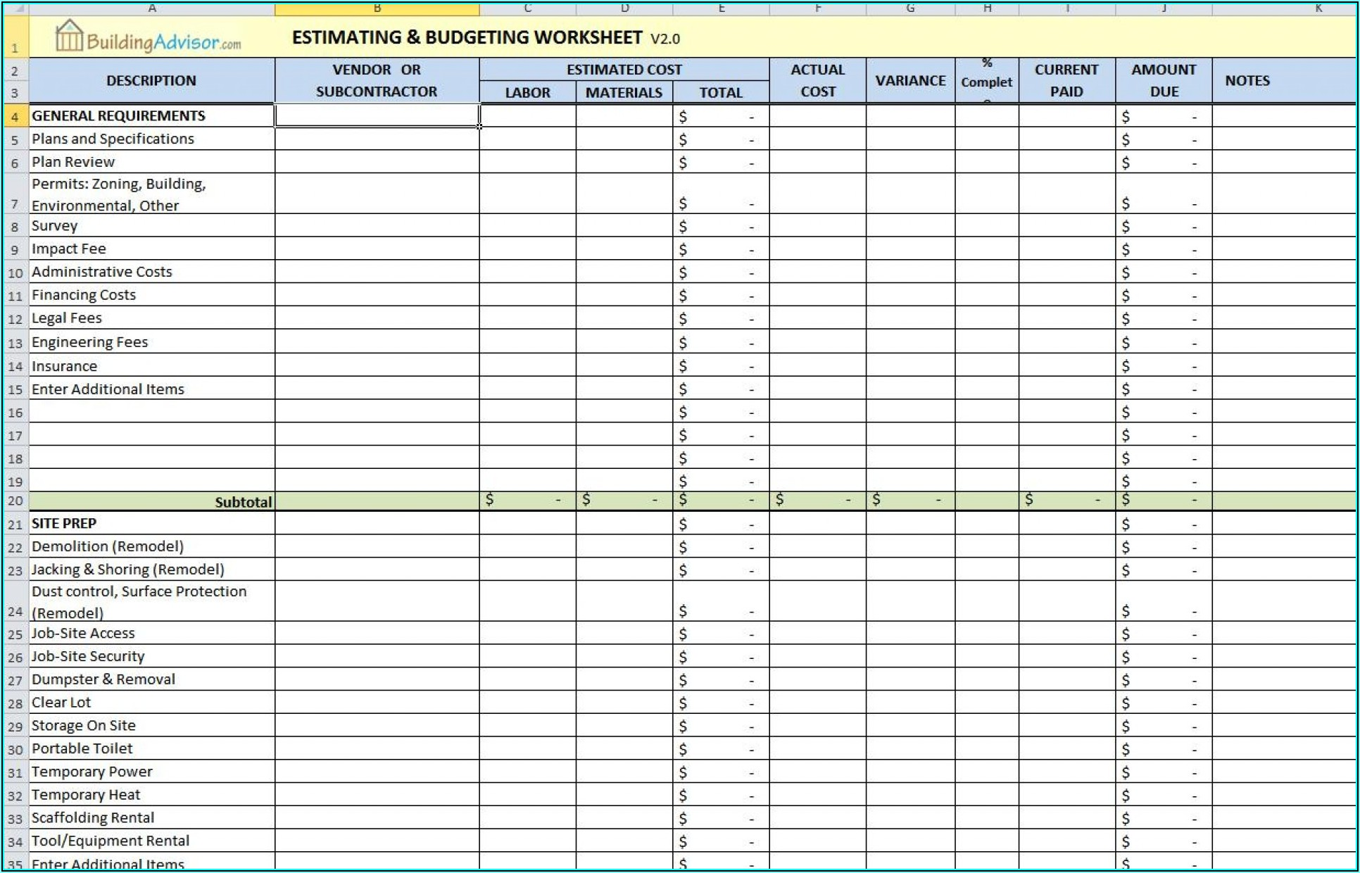Construction Job Estimate Template Excel