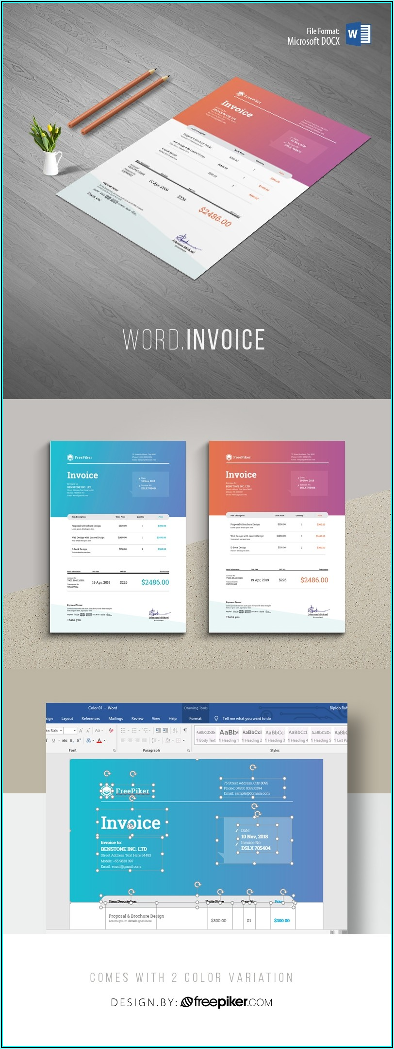 Creative Invoice Template Word