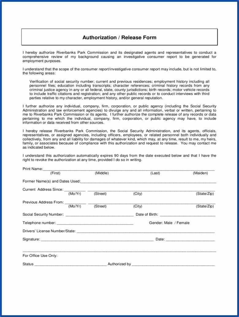 Criminal Background Check Authorization Form Shrm