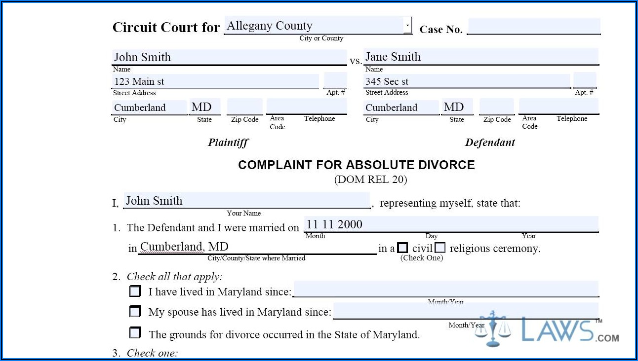 Divorce Forms In Maryland For Free