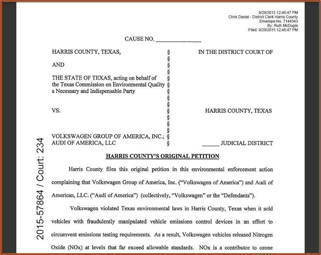 Divorce Petition Form Harris County