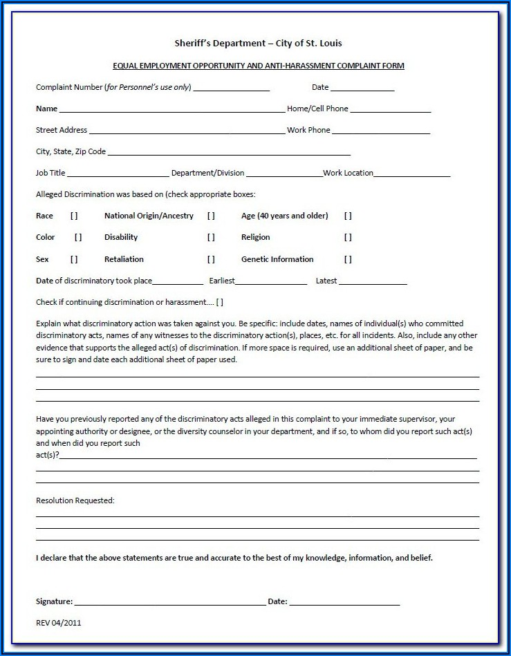 Eeoc Age Discrimination Complaint Form