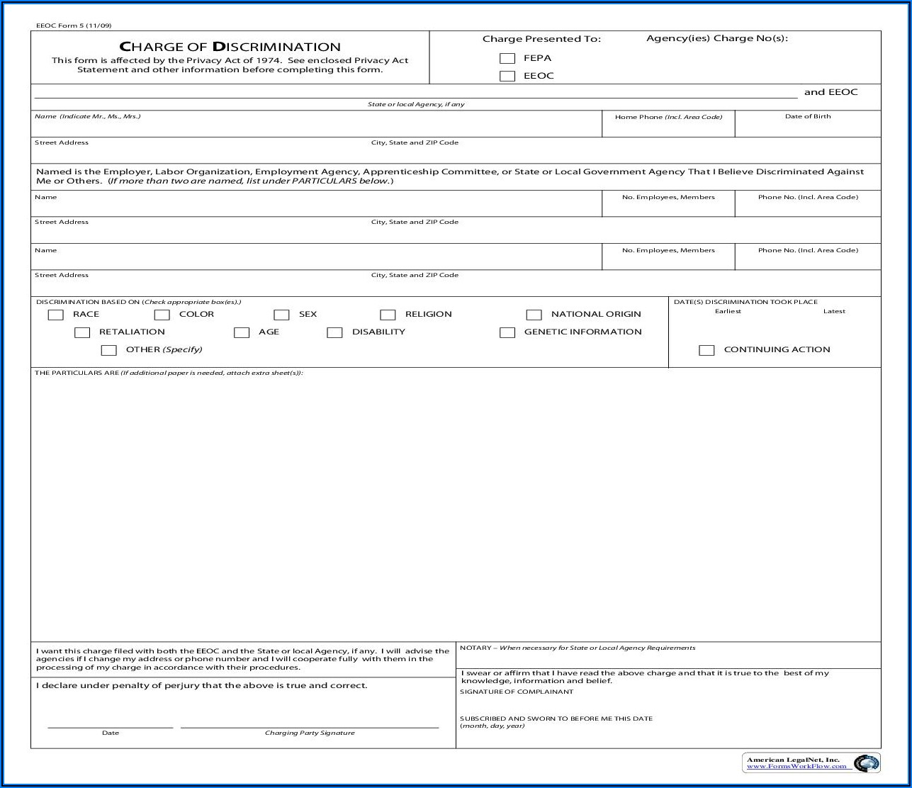 Eeoc Discrimination Complaint Form Pdf