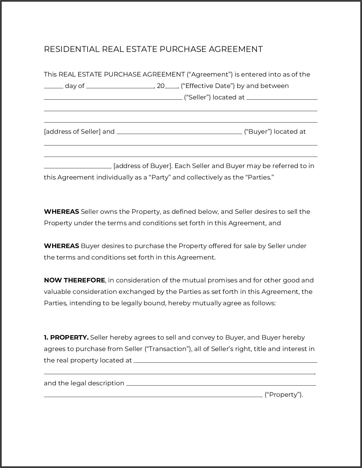 Florida Real Estate Contract Addendum Form