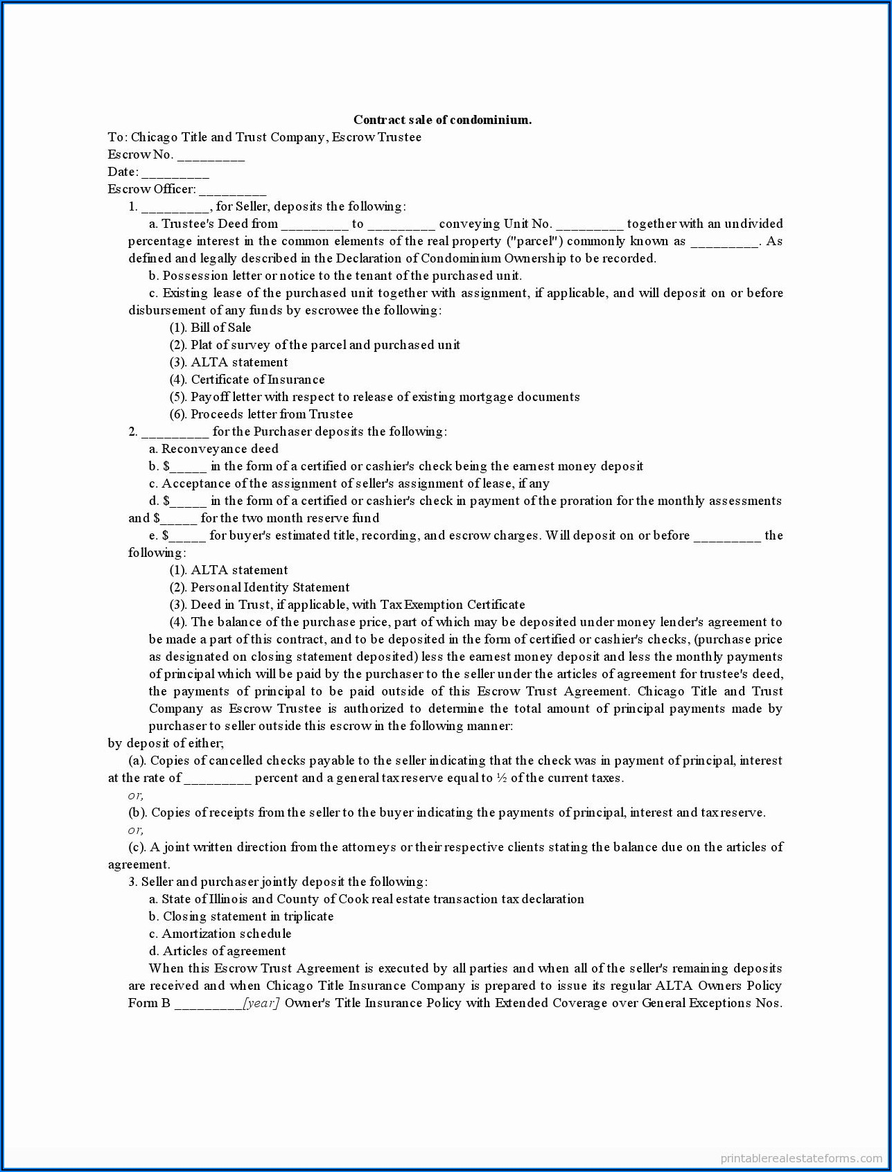 Florida Real Estate Contract Form Free