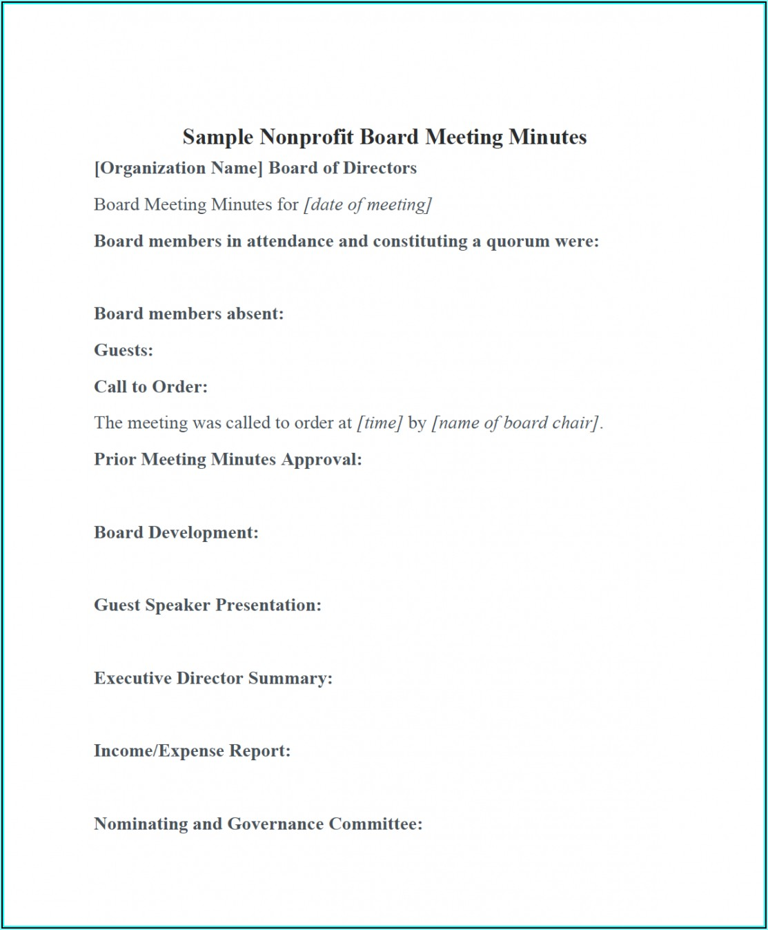 Free Board Meeting Minutes Template