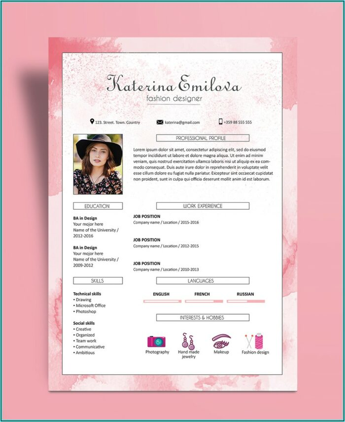 Free Cv Template For Fashion Designer