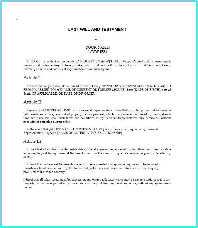 Free Last Will And Testament Template For Married Couple